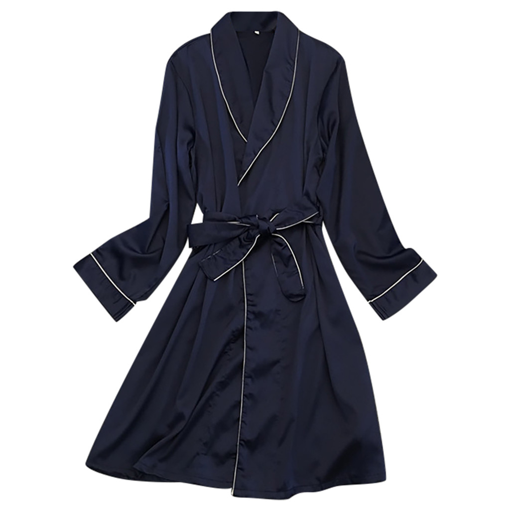 Men Black Lounge Sleepwear Faux Silk Nightwear For Men Comfort Silky Bathrobes Noble Dressing gown Men's Sleep Robes #35