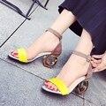 Женский высоких каблуках сандалии 2017 летние новые моды личности в форме с открытым носком сандалии женщина обувь дикий Офис