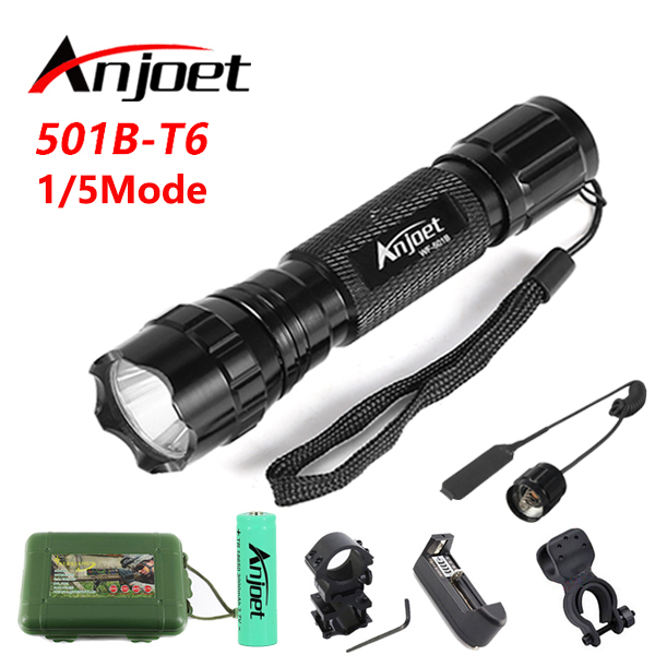 Anjoet Set 501B Tactical Flashlight XML-T6 LED 2000LM Waterproof MINI Torch Lamp 18650 Battery For Hunting Camping Bike Light