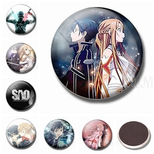 Sword Art Online Refrigerator Magnets 30 MM Fridge Magnet Glass Dome Anime Home Decor Ornaments Cartoon Decoration