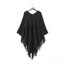 Womens Fringed Tassels Bat Sleeve Pullover Jumper Knit Sweaters Top Poncho Shawl PY5