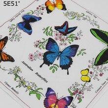 Women handkerchief  cotton 100% / butterfly bird printed 28cm Many Uses