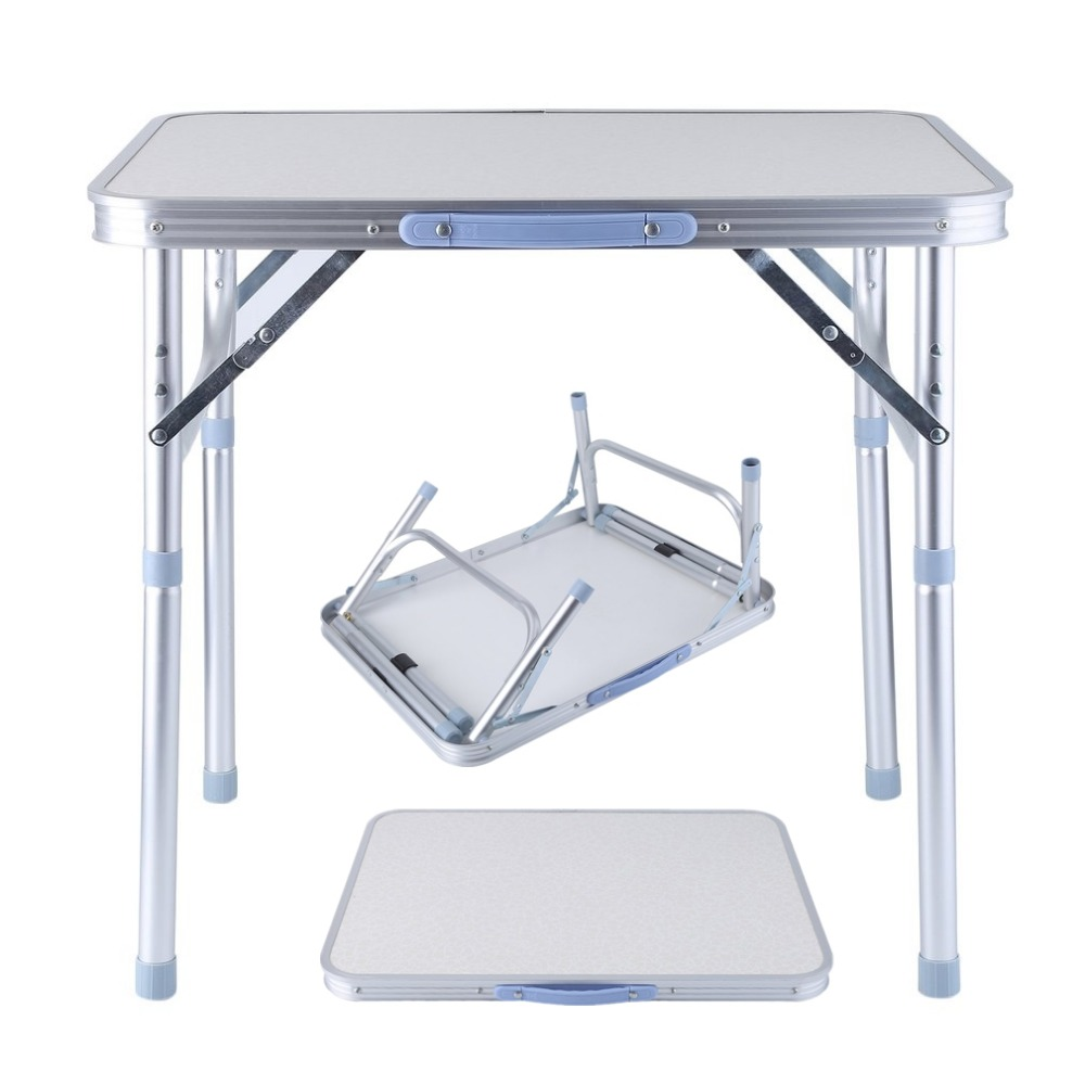 OUTAD Folding portable picnic table aluminum Height Adjustable Indoor Outdoor Party Dining Camping Table With Handle недорого