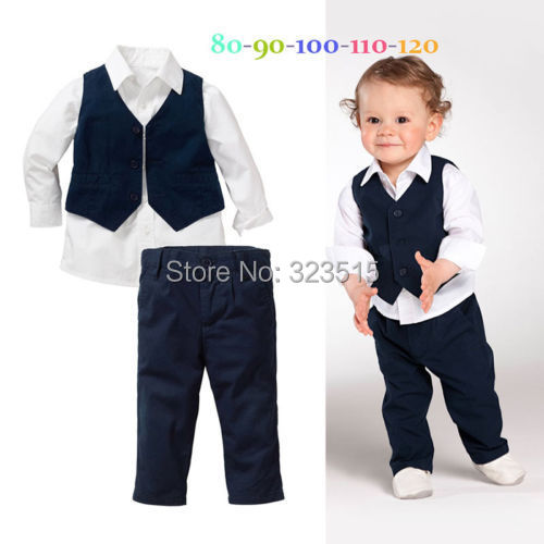 Bebé Infantil Chicos Tops Shirt + Pants + Chaleco Caballero 3 UNID Conjunto Formal Ropa dropshipping