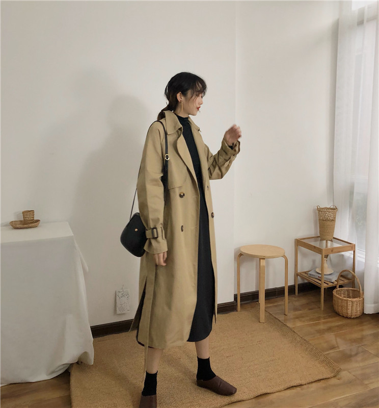 Spring And Autumn Women Fashion Brand Korea Style Waist Belt Loose Khaki Color Trench Female Casual Elegant Soft Long Coat Cloth 9