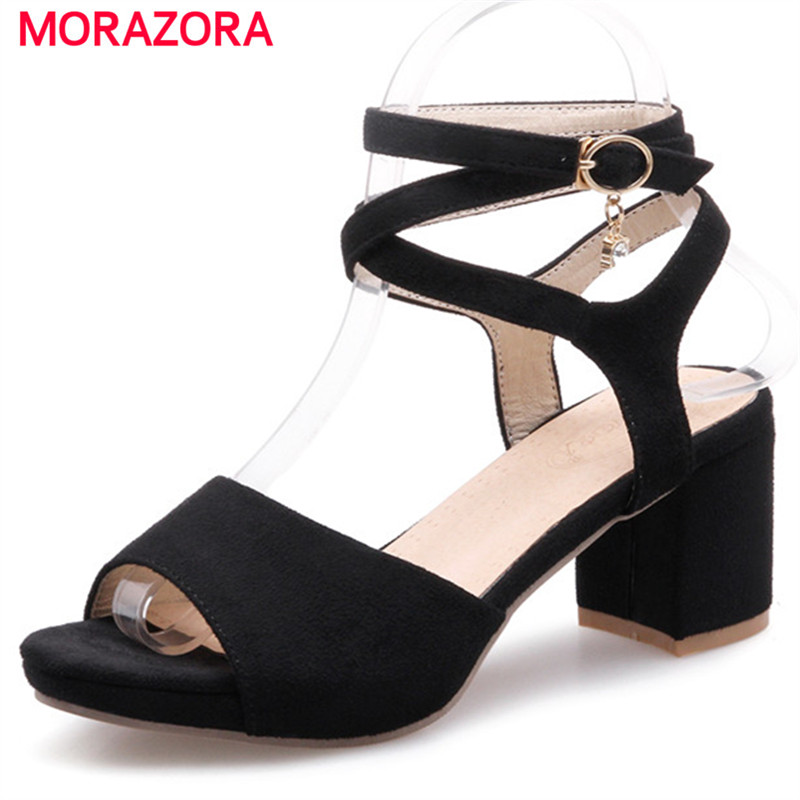 MORAZORA Women shoes sandals in summer flock buckle high heels shoes open-toed fashion elegant party shoes plus size 34-43 morazora bind pu solid high heels shoes 5cm in summer fashion elegant party shoes sandals party large size 34 42