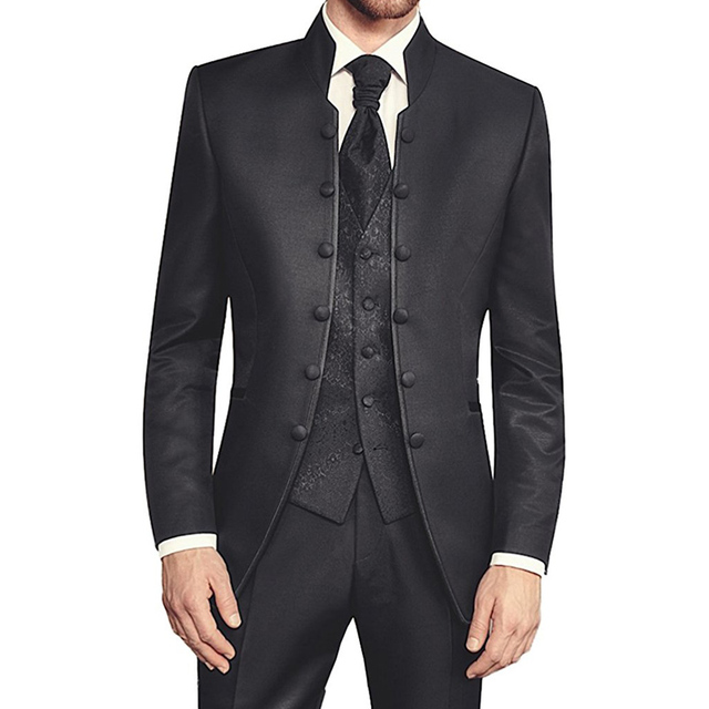 Black Tunic Groom Tuxedos for Wedding Retro Slim Fit Men Suits with Stand Collar Double Breasted 3 Piece Set Jacket Pants Vest
