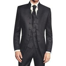 Túnica preta tuxedos para casamento, noivo retro slim fit masculino, casamento com gola suporte, conjunto de 3 peças colete calças