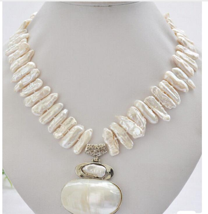 Genuine Natural 25mm WHITE biwa dens freshwater pearl necklace mabe pendant Beads Jewelry silver plating Exquisite lower dens lower dens escape from evil