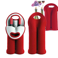 Insulated Neoprene Drink/Wine/Champagne/Beer Two Bottle Cooler Tote Bag Carrier Kitchen Bar Holder two tone spliced tote bag
