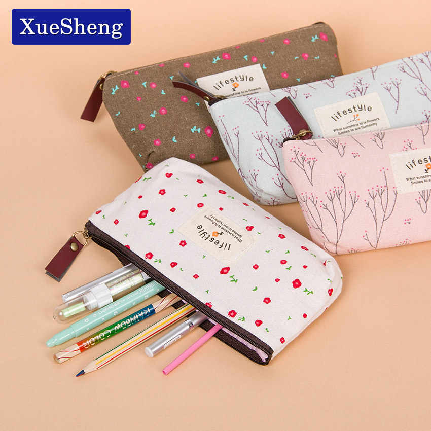 Cute Kawaii Floral Flower Canvas Zipper Pencil Cases Fabric Flower Tree Pen Bags School Supplies
