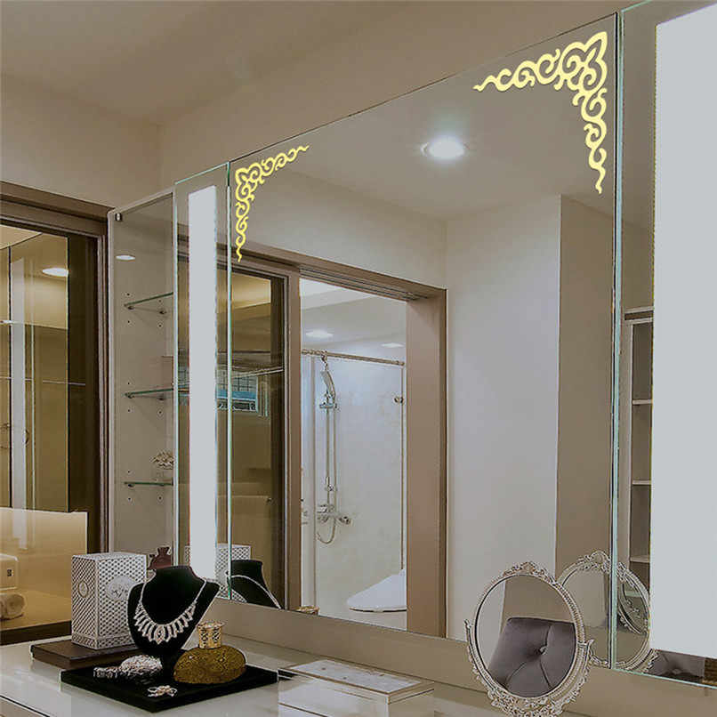 4Pcs Modern Mirror Style Removable Decal Art Mural Wall Sticker Acrylic  Home Room Decor DIY Wallpaper Art Posters 30cm 3E09#F#