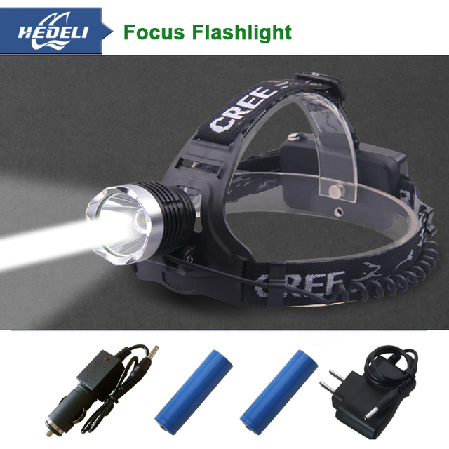 2000 lumens headlamp led cree xm l t6 head lamp  flashlight lanterna de cabeca lampe frontale rechargeable head torch