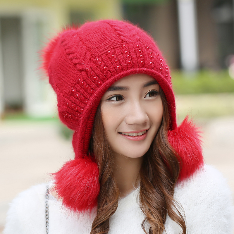Winter Hats Female Sweet Fashion Knitted Wool Caps Double Layer Ear Protection Women Beanies Casual Keep Warm Gorros