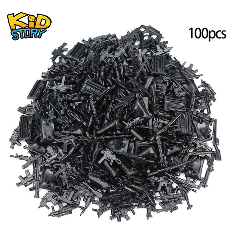 100pcs Military SWAT Police Gun Weapon Pack Army Soldiers Building Blocks MOC Arms City Compatible ww2 box Series(China)