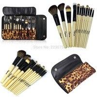 Neue 12 Stücke Professionelle Make-up Pinsel Set + Leopard Beutel Kosmetiktasche Tool Kit Geschenk