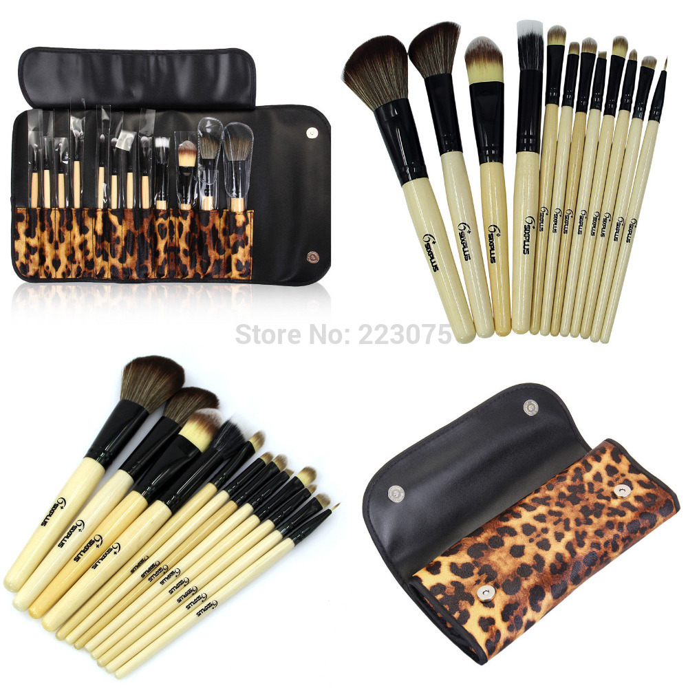 New 12 pcs Professional Makeup Brush Set +leopard Pouch Cosmetic Bag tool Kit gift 147 pcs portable professional watch repair tool kit set solid hammer spring bar remover watchmaker tools watch adjustment