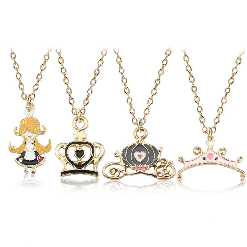 DIY Cartoon Cinderella Pumpkin Car Pendants Necklace Women Kawaii Enamel Princess Crown Choker Jewelry For Girls Gifts Collares