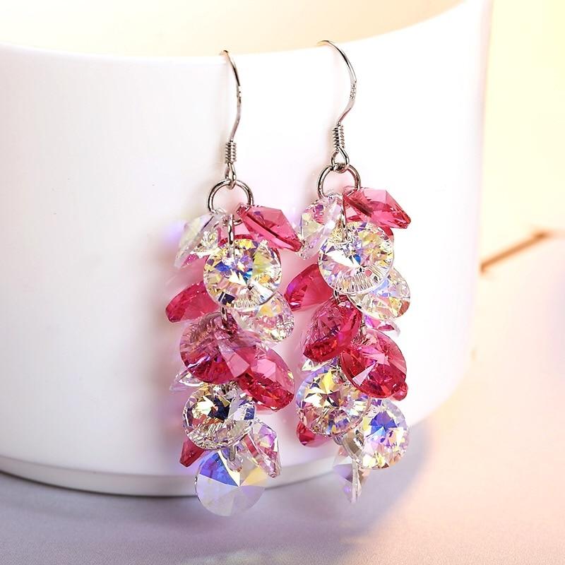 New Arrivals Handmde Fine Glass Crystal Drop Earrings Sweet Pink Pendant Earrings Wedding Jewelry Propose Gifts For Girls Friend
