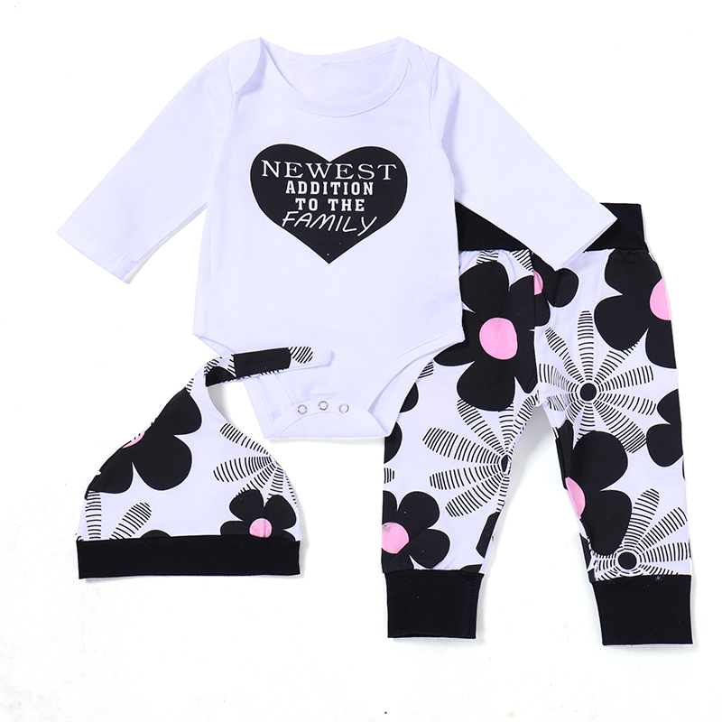 2018 Baby Girl Clothes Newborn Infant Kids Girls Letter Tops Romper Print Pants Hat Baby Sets 3pcs Fashion Baby Girl Clothing