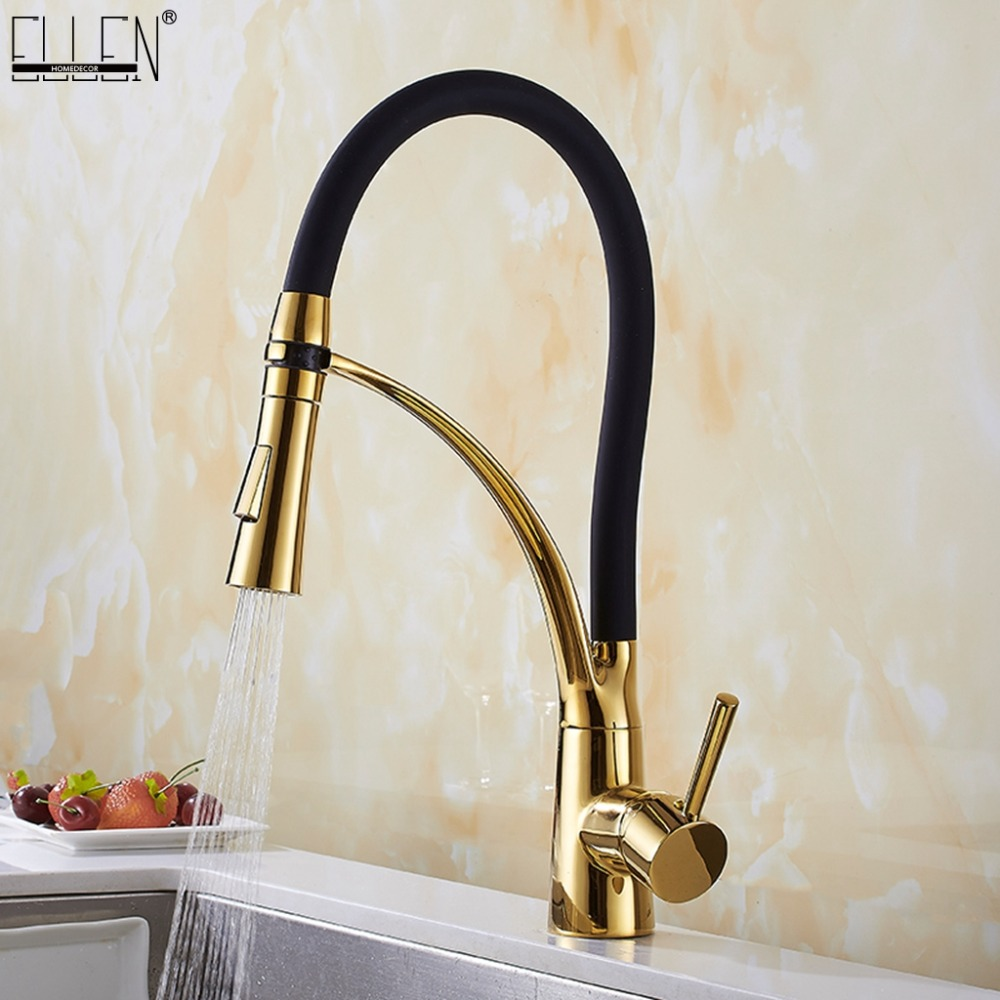 Pull Down Kitchen Faucet Gold Hot and Cold Water Crane Mixer Deck Mounted Kitchen Sink Faucets