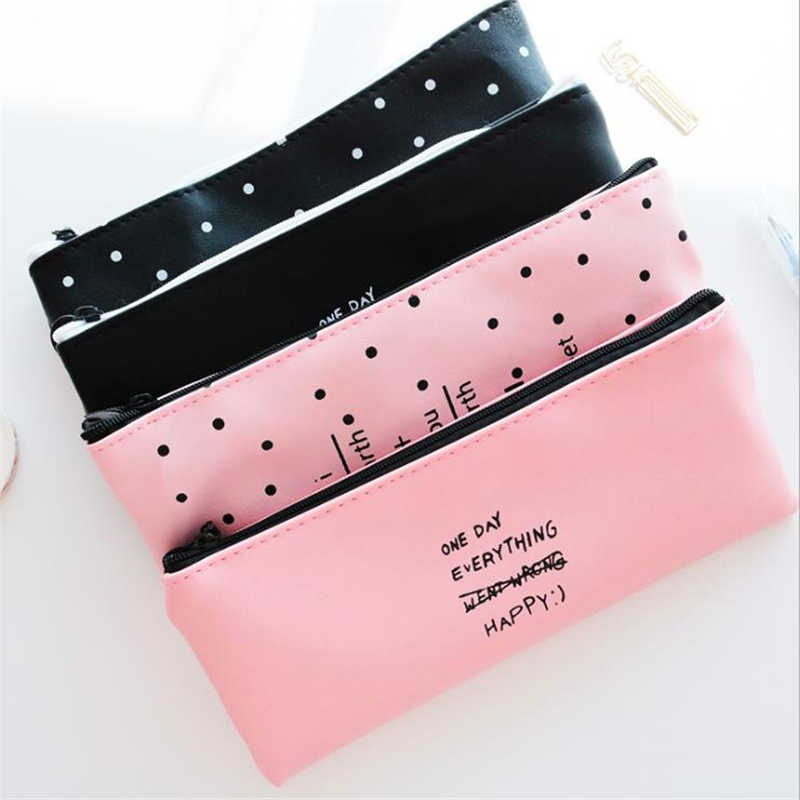 Cute Pencil Case White Dot Lovely Waterproof PU Leather Pen Bag Stationery Office School Supplies Pencil Bag Pink Black