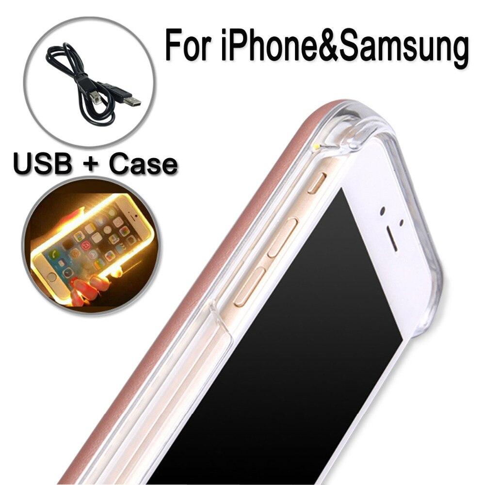 Cas de téléphone Pour IPhone 6 plus x 7 PLUS iPhone7 Couverture Pour Samsung Galaxy S6 S7 bord Lumière Flash Lumineux Auto Retour Couverture i5 i6 i7