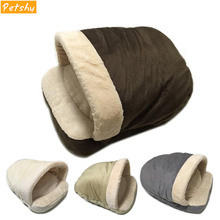 Petshy Pet Soft Dog Cat Bed House Autumn Winter Warming Nest Mat Small Medium Dogs Sleeping Bag Kennels Comfort Warm Cats Cave