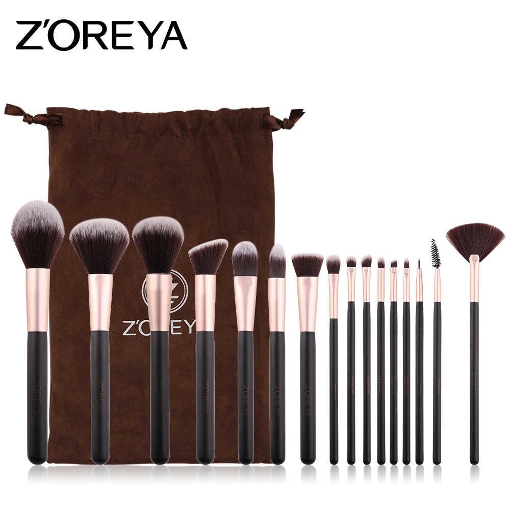 44cf47383e32 ZOREYA Make Up Brushes 16pcs Makeup Brush Set With Pouch Powder ...
