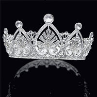 Beauty Pageant Royal Queen King Round Crown Bridal Tiaras Wedding Hair Jewelry Tiaras and Crowns Head Ornaments