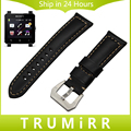 24mm Calf Genuine Leather Watch Band for Sony Smartwatch 2 SW2 Wrist Strap Stainless Steel Tang Buckle Blet Bracelet Black Brown