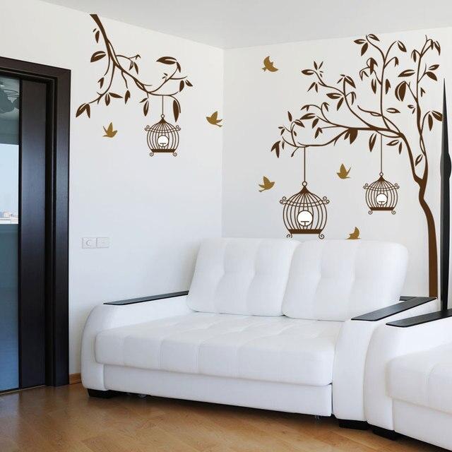 Pássaros Voando De Volta Para A Árvore Birdcage Adesivos De Parede Vinil Art  Living Room Home Part 92
