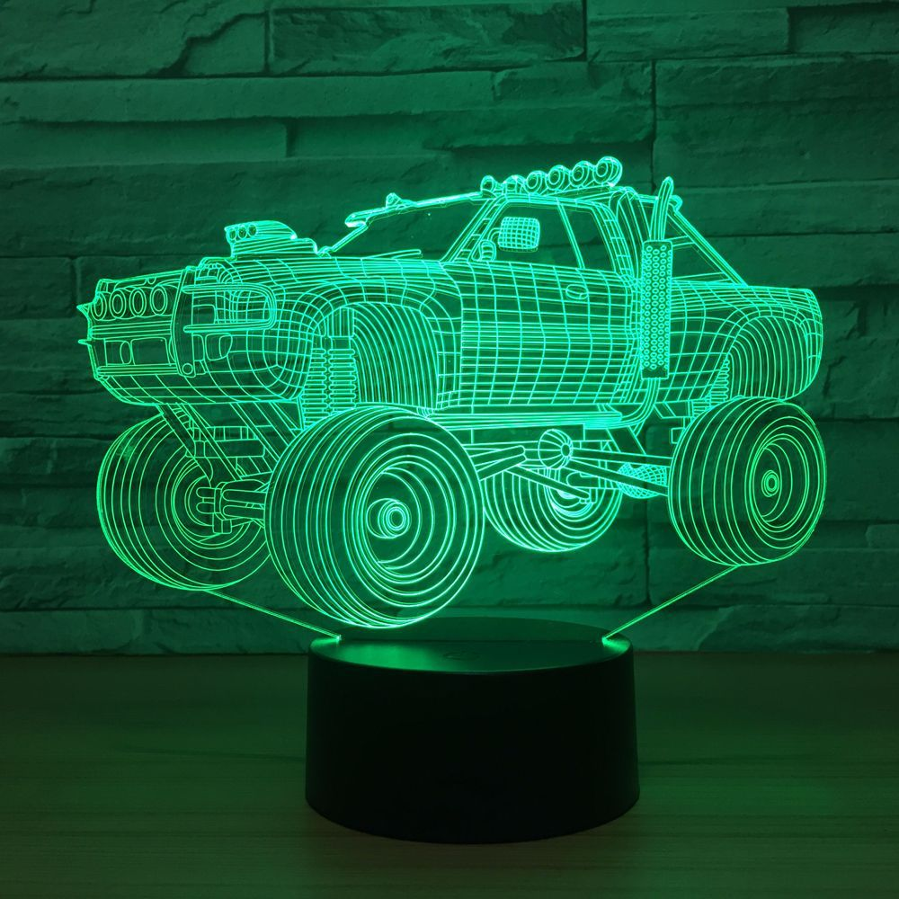 Off-road Vehicle 3D Lamp 7 Color Changing Visual Night Light SUV Car 3D light LED Table Lamp Touch Switch Desk Light Party Gift
