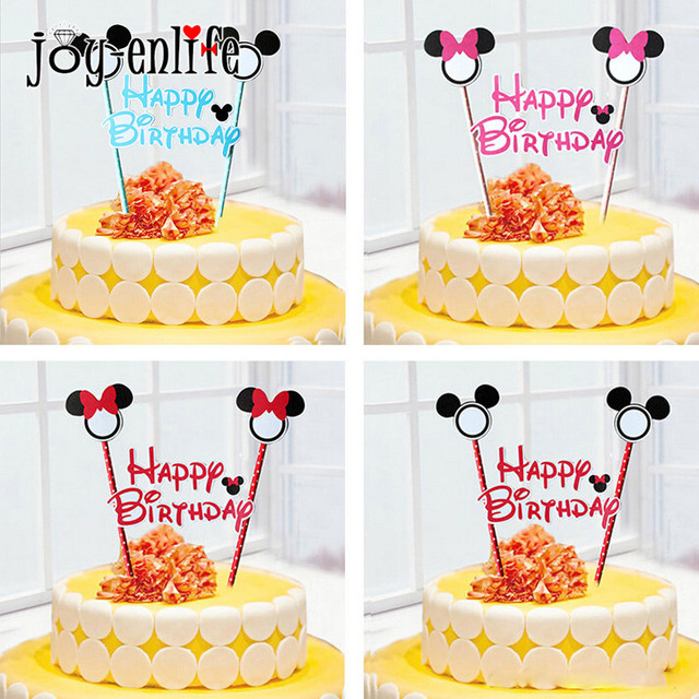 JOY-ENLIFE 1set Mickey Minnie Mouse Theme Happy Birthday Cupcake  Topper Flags Baby Shower Kids Birthday Party Cake Decoration