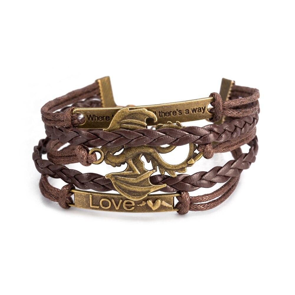 2017 Fashion Pulseira Woven Leather Bracelet bird Alloy Bracelet Women Casual Brown Personality Vintage Punk Bracelet