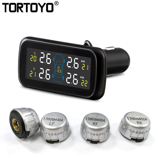 Car Wireless Tire Pressure Monitoring System Auto TPMS with 4 External Replaceable Battery Sensors Cigarette Lighter Type U903