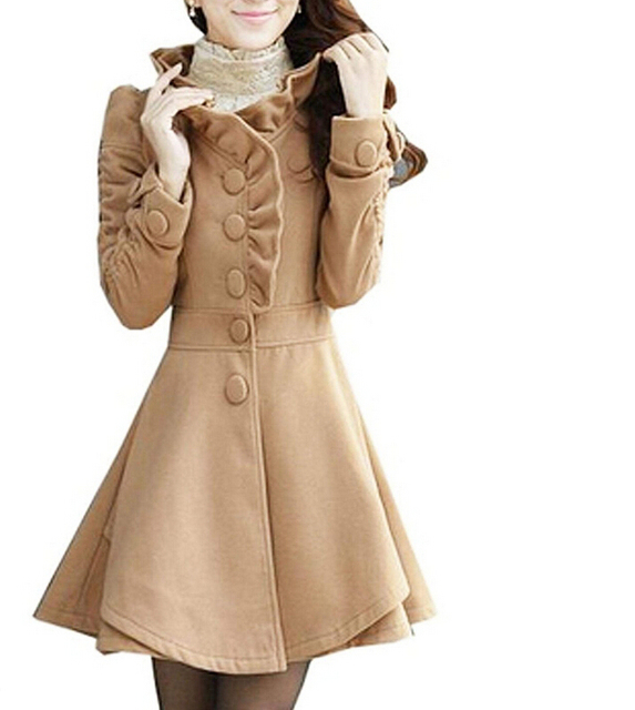 FGGS Women's Wool Blends Coat Slim Coat Long Jacket rose