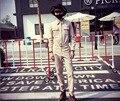 2017 homens Verão Fino macacão calças macacão maré personalidade da marca calças Ferramental Macacão Coverall trajes cantor