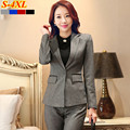 Fashion Slim work wear women pants suits 2016 winter elegant clothing plus size formal plus size long sleeve blazer with trouser