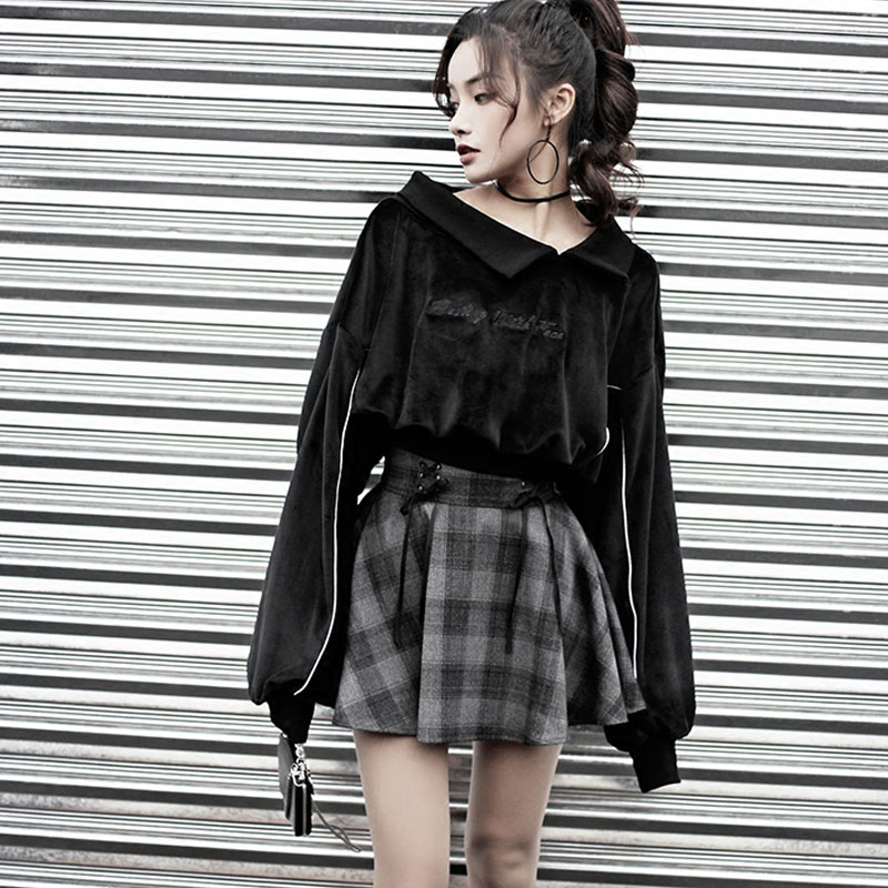 Frauen Sets Gothic Brief Stickerei Samt Sweatshirt Hohe Taille Bandage Grau Plaid Mini-Rock Mädchen Weibliche Set Outwear