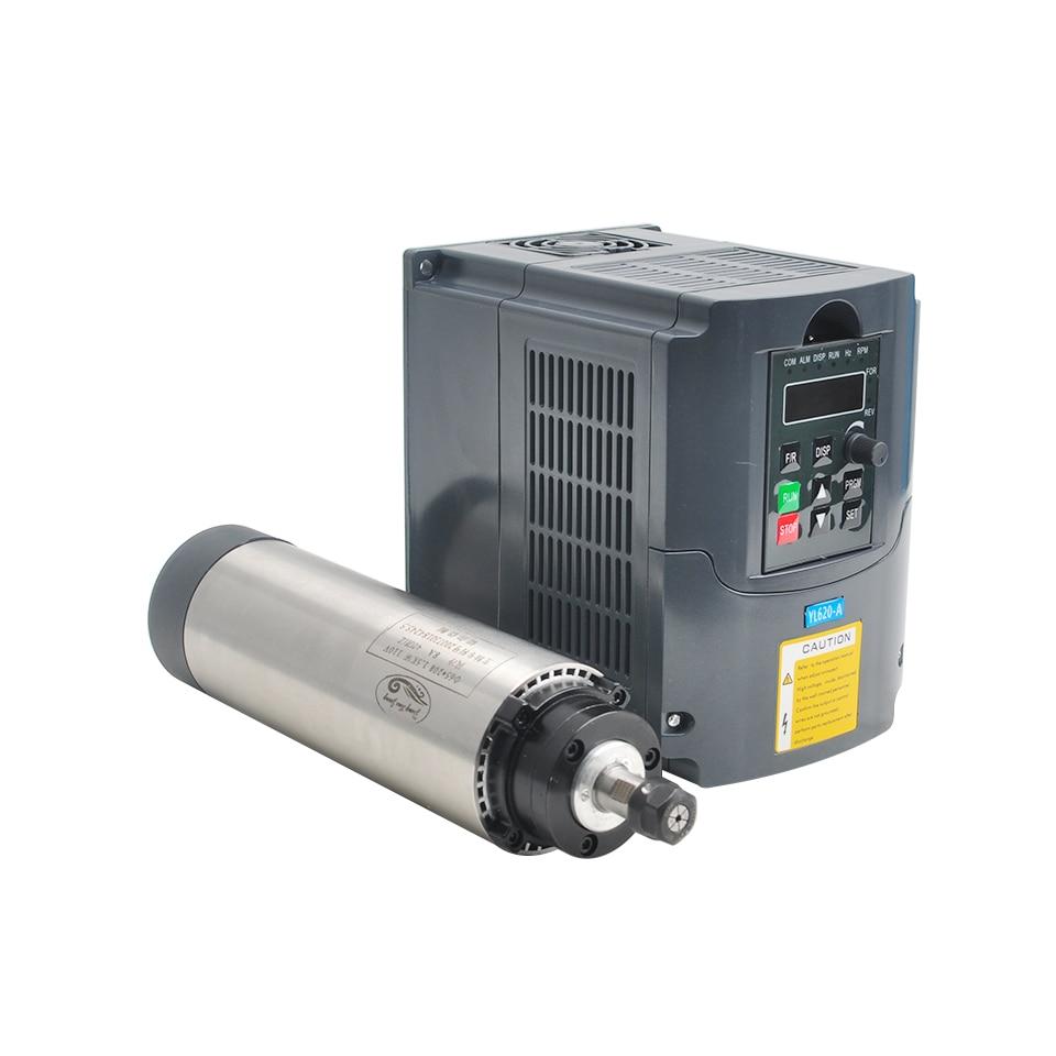 Motor Spindle 1.5KW 220 V Refrigerado A Ar Do Eixo Da Máquina Ferramenta 65 MILÍMETROS Milling VFD Conversor de Controle de Velocidade Do Motor 1500 W inversor