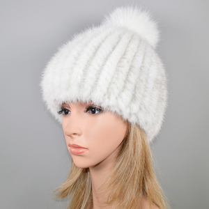 Image 4 - 2020 新ラブリーリアルミンクの毛皮の帽子女性の冬のニット本物のミンクの毛皮ビーニー帽子キツネの毛皮のポンポンpoms厚い暖かいリアルミンクの毛皮帽