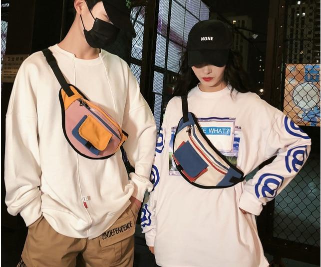 New Tide American Style Dumplings Fanny Pack Unisex Streetwear Hip Hop Cloth Waist Bag Casual Couple Chest Bags Heuptas D194