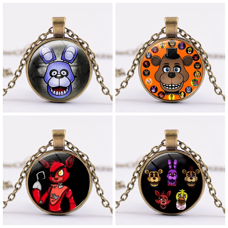 6 Styles Five Nights At Freddy's Action Figure Toy Foxy Chica Freddy Necklace Alloy FNAF Toys Birthday Gifts