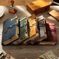 Handgemachte 100% Vintage Leder Reisenden Notebook caderno Tagebuch A6 A7 A5 notizblock planer kugel journal kalender für schule spirale