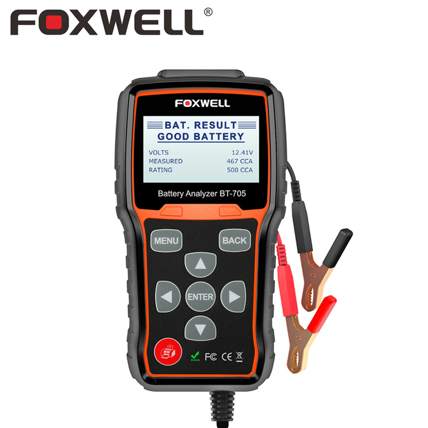 FOXWELL BT705 100-2000CCA Battery Analyzer Tester For Cars Duty Trucks 12V-24V Car Cranking And Charging System Diagnostic Tool