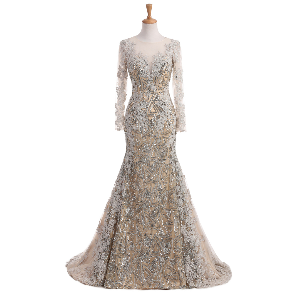 Buy Real Photo Unique Mermaid Evening Dresses Long Sleeves Muslim Prom Dress 2017 Lace Sequined Silver Vestido de Festa MD13