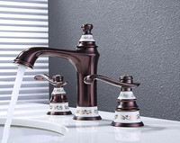 Deck Mounted ORB Double Handles basin faucet Bathroom Sink Faucet, Brush Finished three hole bathroom faucet Crane Sink tap BF08