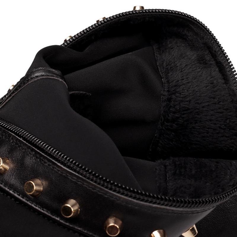 Tamaño Patchwork Invierno Caliente Remaches Zapatos Altas Muslo multiple Militar Moda Pisos Negro Piel Botas Mujeres verde 34 39 Coolcept Clásica Nuevas Xqf8wv6