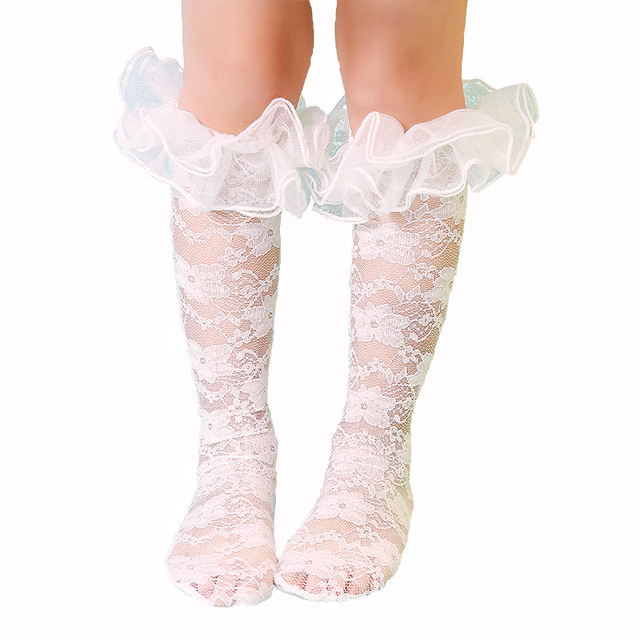 Spring Summer Childrens Princess Sock With Big Lace Ruffle Floral Knee High Baby Girls Socks White